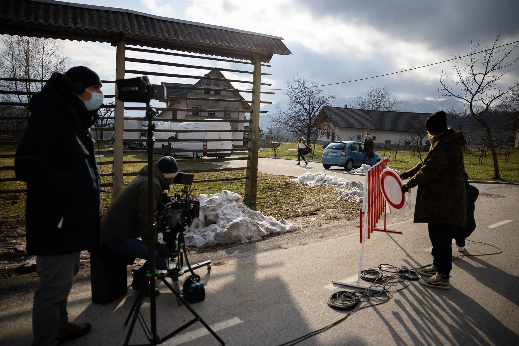 Actors Jure Henigman and Živa Selan filming a scene for Wake Me.