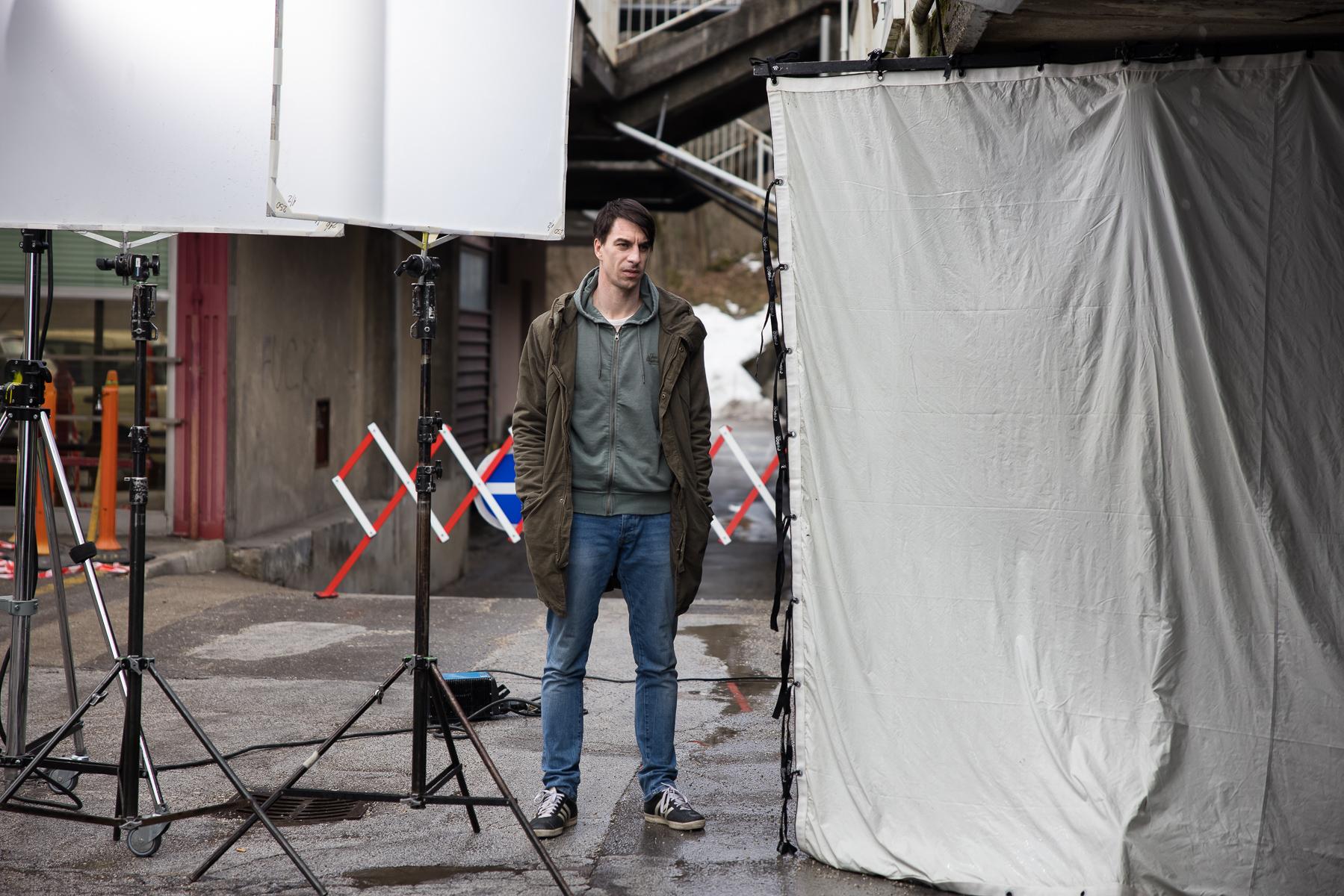 Actor Jure Henigman on the set of Wake Me.