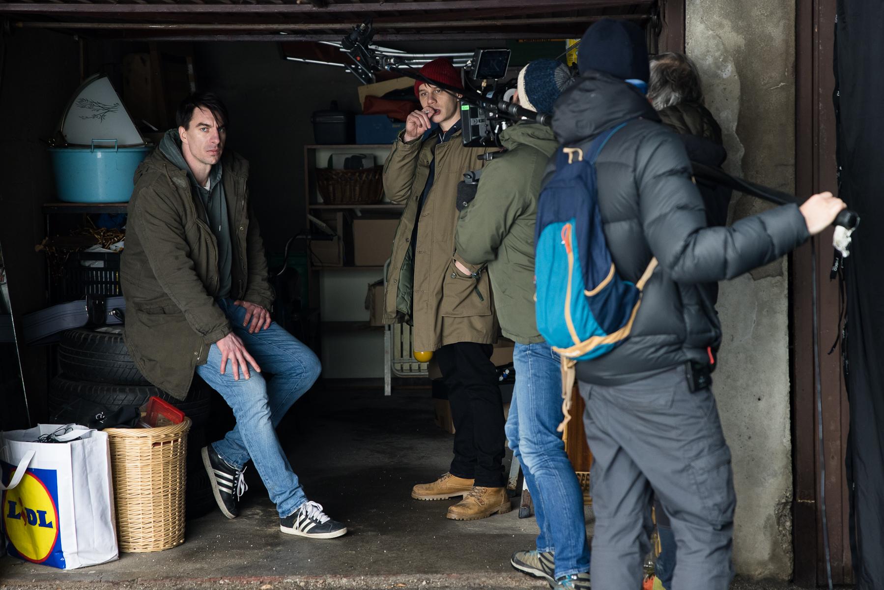Actors Timon Šturbej and Jure Henigman filming a scene for Wake Me.
