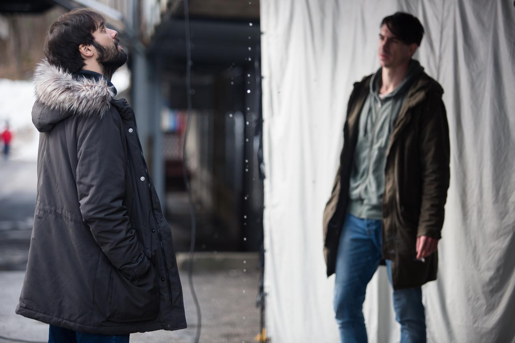 Actors Benjamin Krnetić and Jure Henigman on the set of Wake Me.
