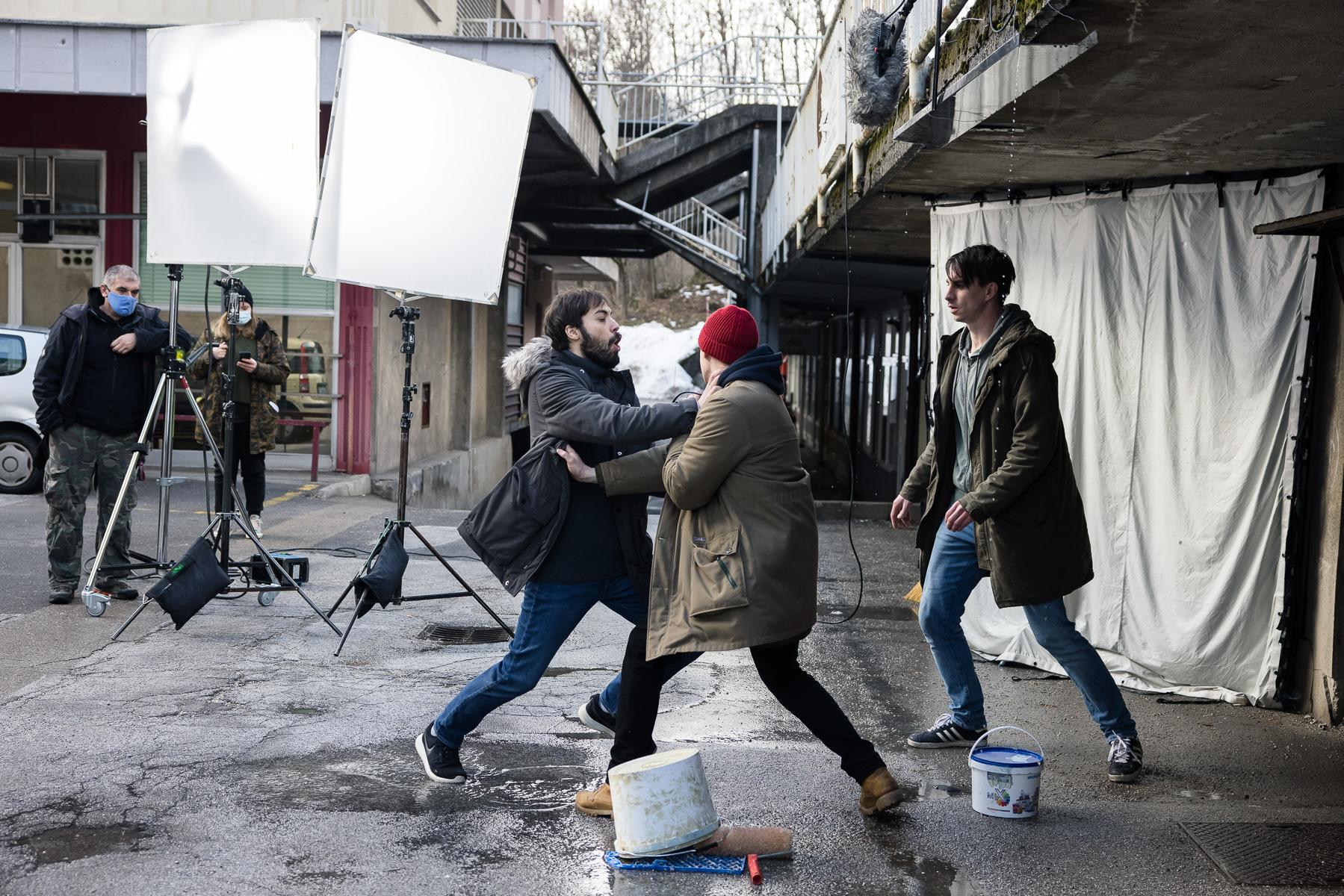 Actors Benjamin Krnetić, Timon Šturbej and Jure Henigman filming a scene for Wake Me.