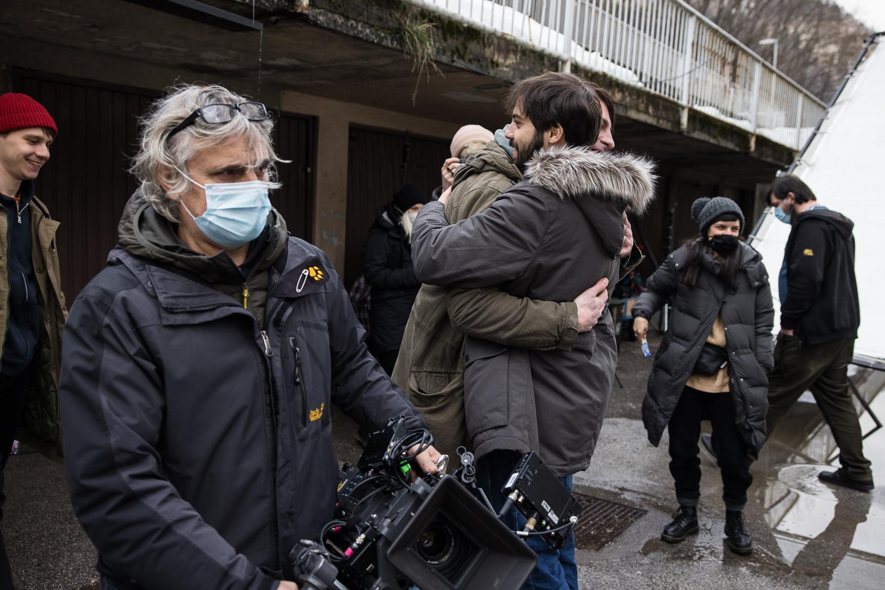 Actors Benjamin Krnetić and Jure Henigman embrace after Krnetić's final take for the film Wake Me.