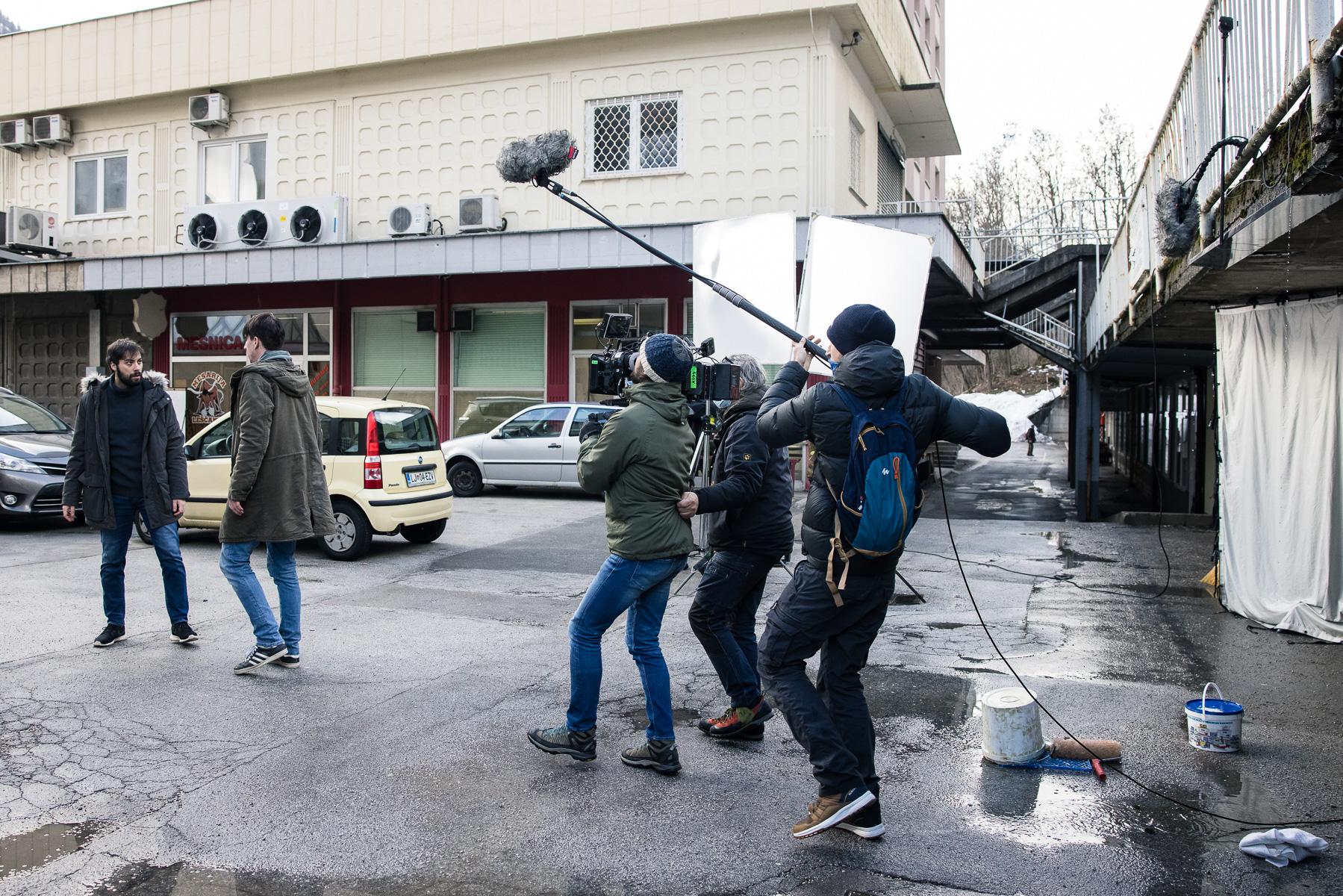 Actors Benjamin Krnetić and Jure Henigman filming a scene for Wake Me.