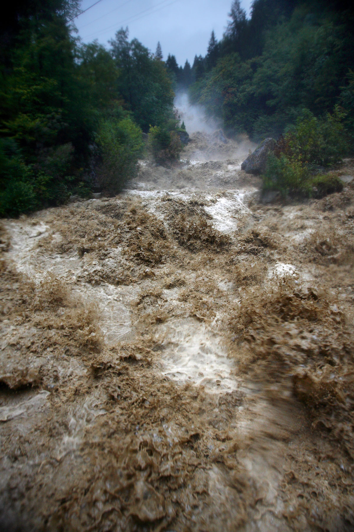 The river Tržiška Bistrica rampages through the Dovžan gorge above Tržič, Slovenia, on 18th September, the day of the catastrophic floods.