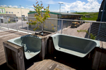 The balcony benches at the RCERO Ljubljana's headquarters are made from used bathtubs.