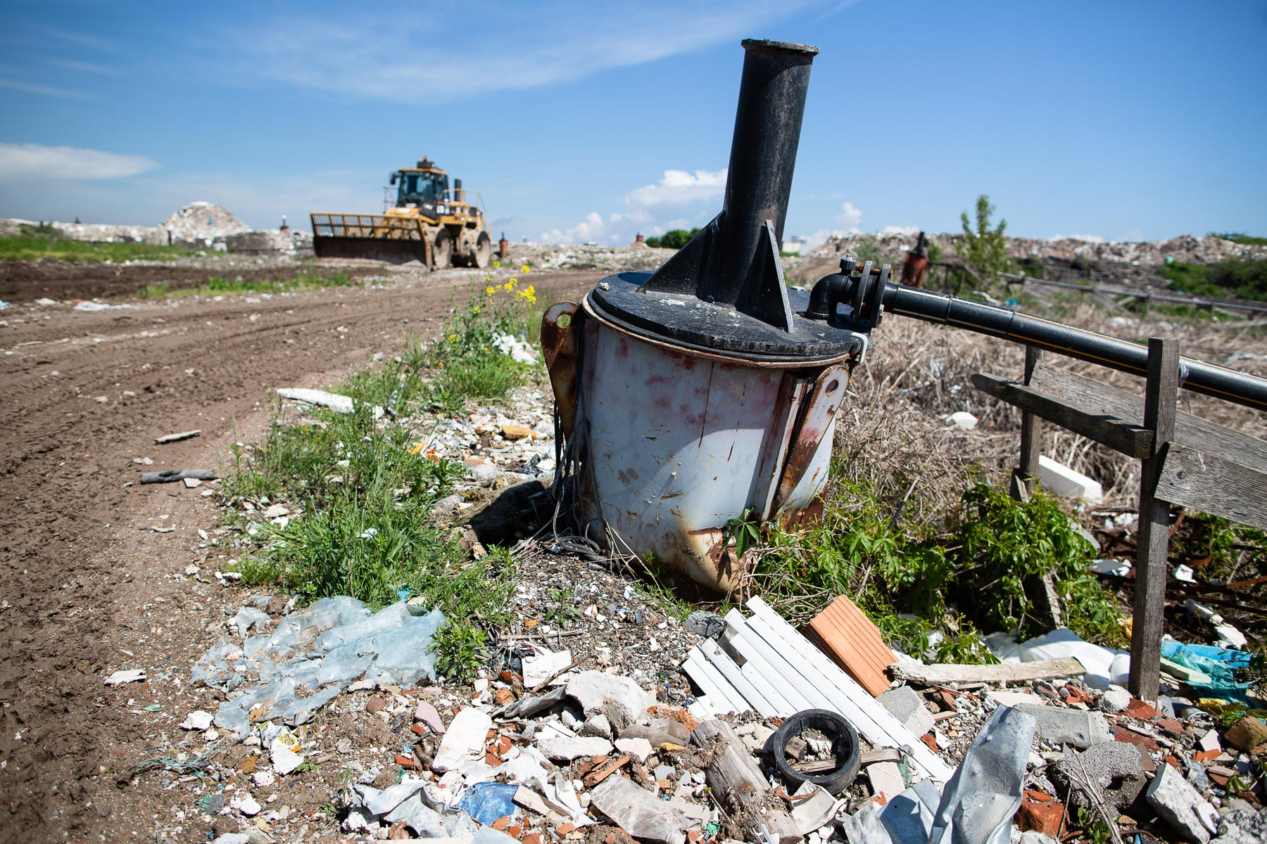 A methane gas outlet is seen in Ljubljana's landfill on the outskirts of town behind the RCERO Ljubljana mechanical biological treatment plant, on May 10, 2019.