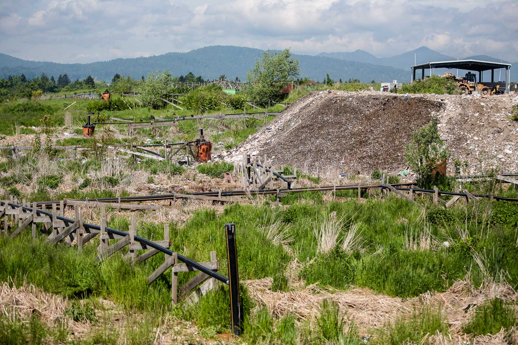 A mound of less than 5% of landfilled residual waste is seen in Ljubljana's landfill on May 10, 2019.