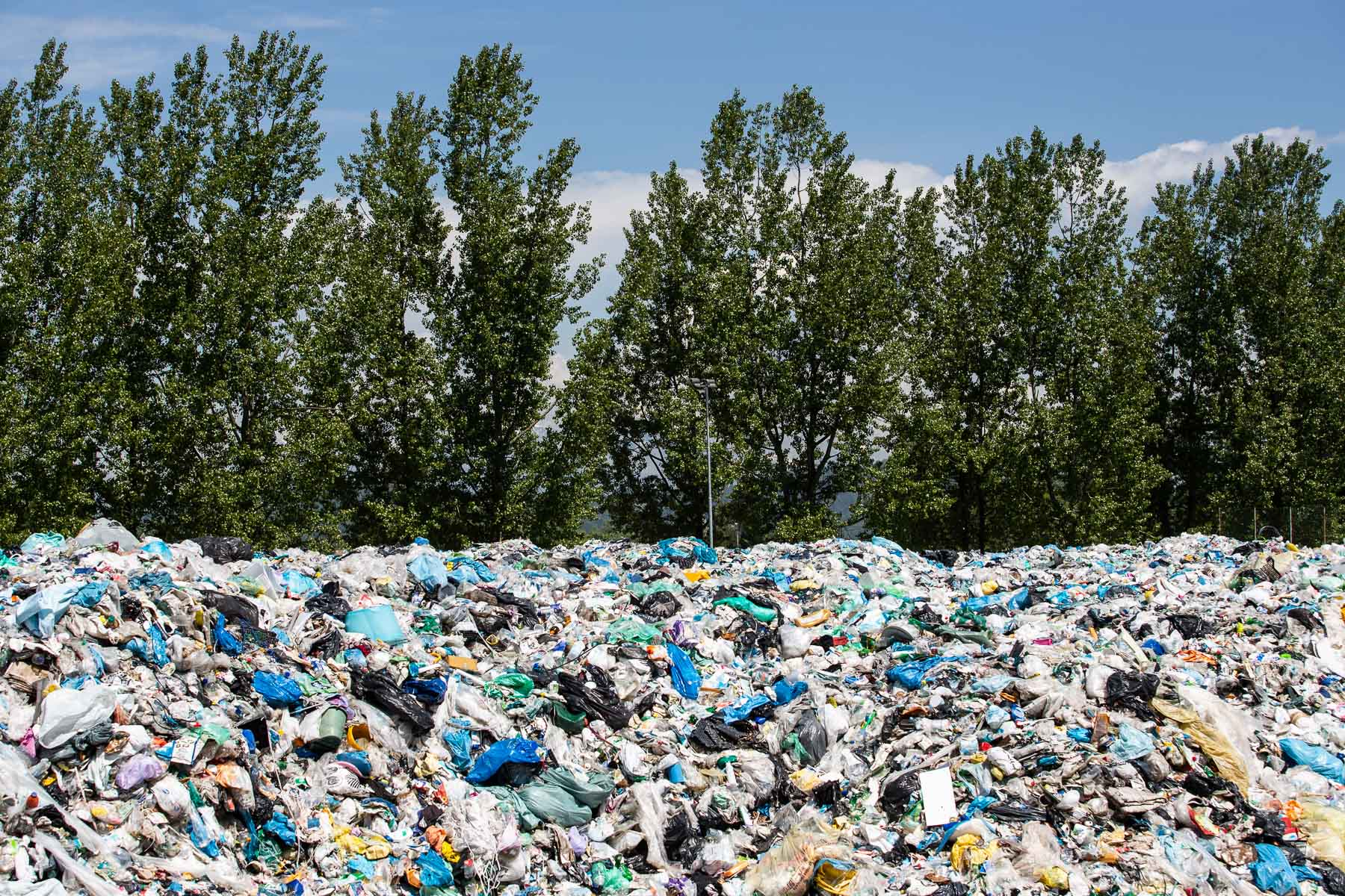 Due to prolonged deal negotiations between the government and recycling companies waste packaging waits to be processed at the Regional waste management center RCERO Ljubljana on May 10,2019.