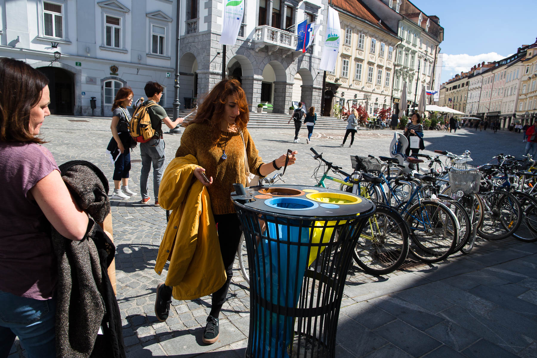 Waste bins containing seperate bags for paper, packaging and biodegradable waste are very frequent in the old city center of Ljubljana that welcomes the highest number of tourists. In 2018, the number of overnight stays in Ljubljana reached over a million and a half - first time in history.