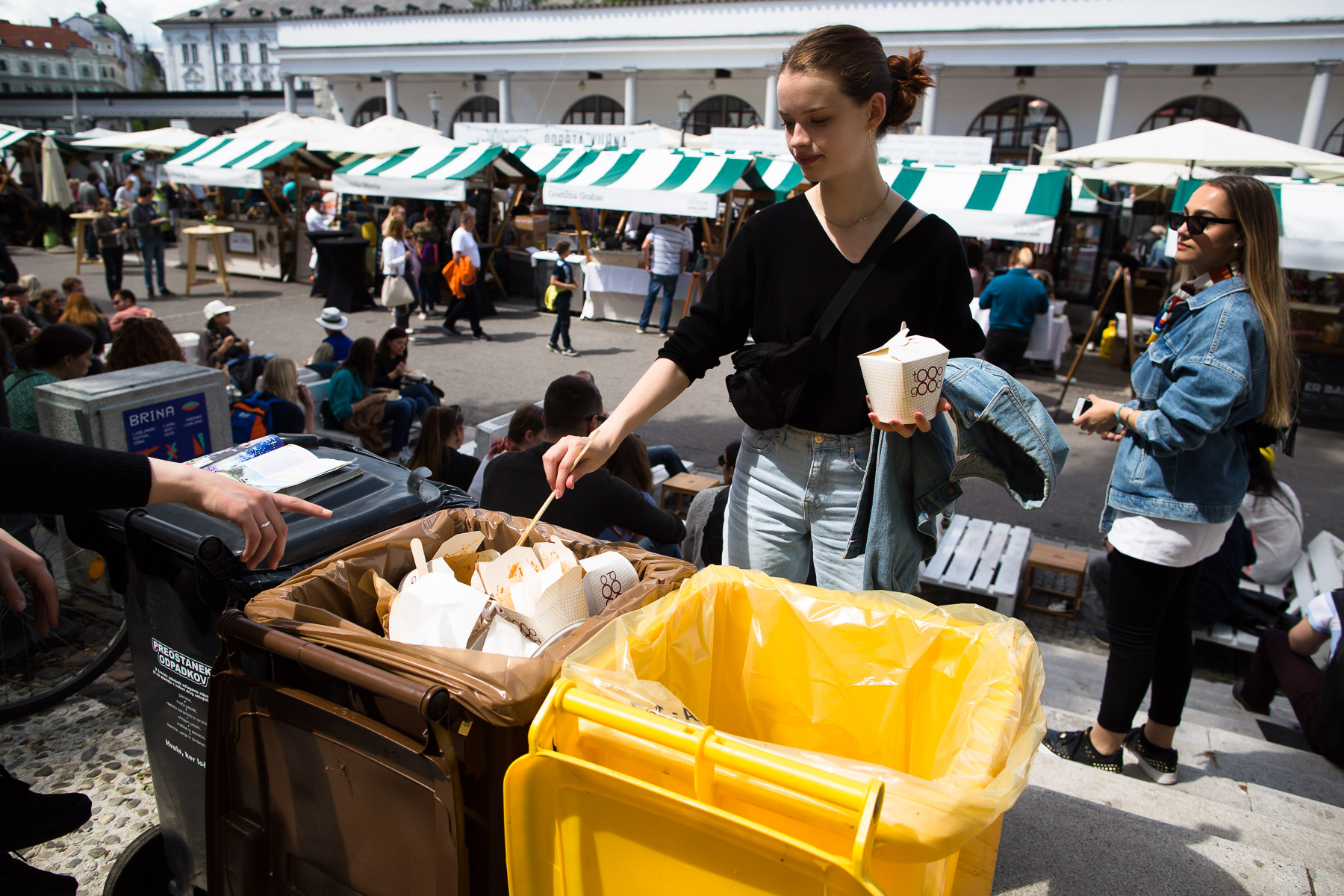 Voka Snaga, Ljubljana's waste management company, provides separate bins for packaging, biological and residual waste and staff at major public events like Open Kitchen (pictured here), a popular food market with over 50 vendors and up to 10,000 visitors daily. They separately collect about 95% of waste generated at the event.