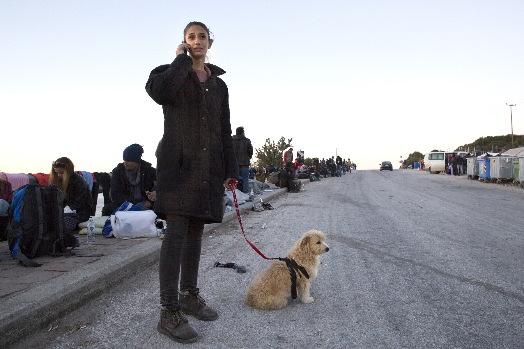 LESBOS, GREECE - NOVEMBER 3: A Syrian refugee makes a phone call home as she holds onto her dog who is making the long journey with her. Colder weather and rough seas continue to cause deaths at sea as thousands travel in overcrowded small rafts. According to the IOM, an estimated 100,000 people landed in Greece, an average of almost 4,500 per day in late October and November. Nearly all of those entering Greece on a boat from Turkey are from the war zones of Syria, Iraq and Afghanistan. (Photo by Paula Bronstein)