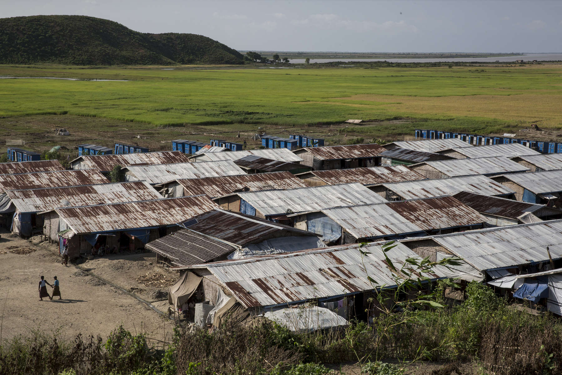 MAYEBON - NOV 8: Overall of the Mayebon IDP camp where registration has taken place forcing the residents of the camp to list themselves as Bengali not Rohingya. The new policy is called the Rakhine Action Plan. Paula Bronstein for The Washington Post