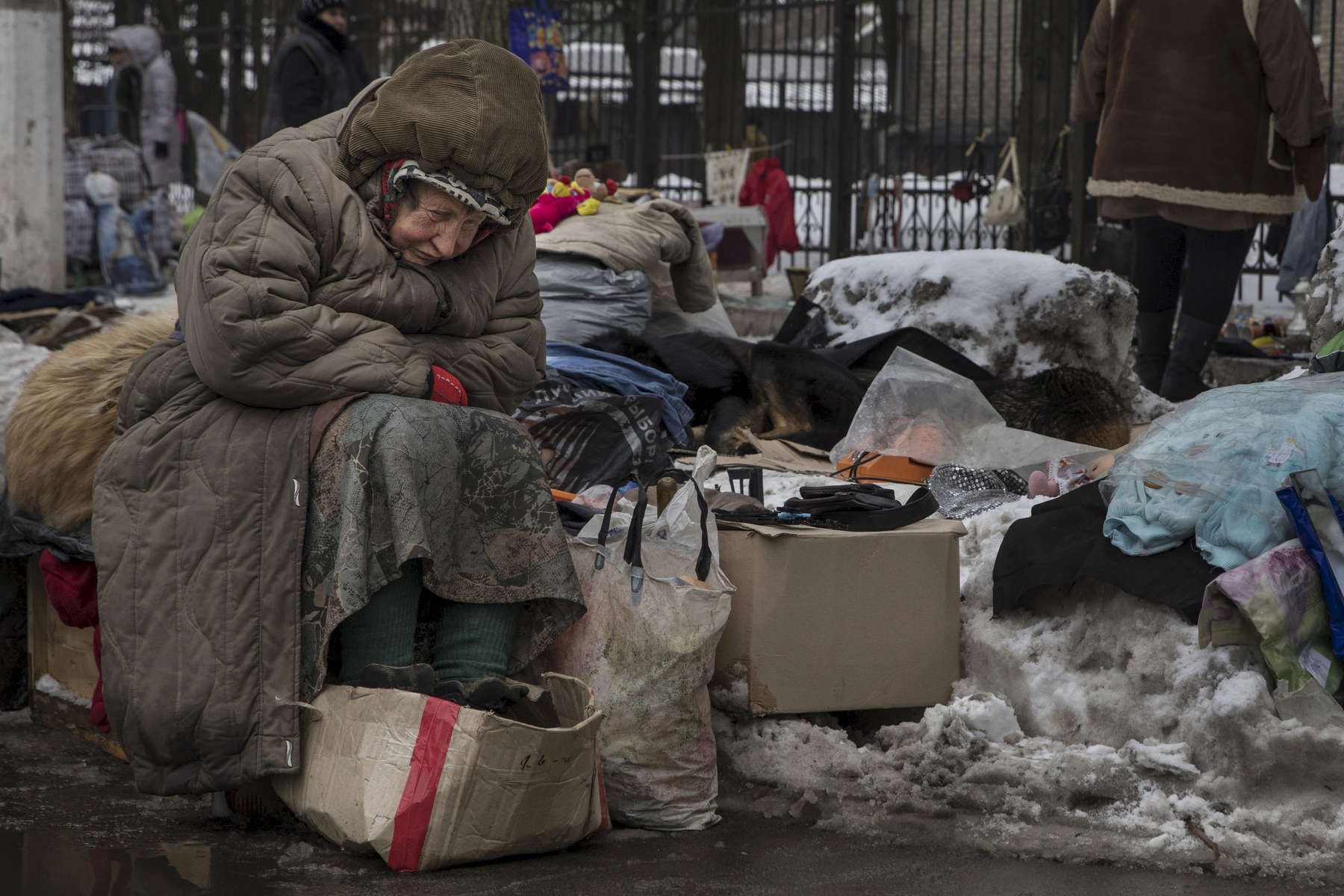 Donetsk, People's Republic (DPR) : Galina Mikhailovna , age 79, waits for customers at a second hand market in suffering during a cold winter day in February. She sells used goods that others give to her in the market for pensioners, sits in the snow with some street dogs. She has no pension, she never went to Ukraine to register, claims she can't afford to travel to the other side every 57 days which is required by the government. She is in  debt so can't afford to pay for heat and water in her apartment anymore.