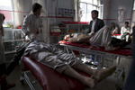 KABUL, AFGHANISTAN -APRIL 6, 2016:   A the Emergency hospital multiple patients are treated in the OPD emergency area after a bomb blast in Ghorband ( near Parwan) killed 6 and injured dozens in Kabul on April 6, 2016. Afghan civilians are at greater risk today than at any time since Taliban rule. According to UN statistics, in the first half of 2016 at least 1,600 people had died, and more than 3,500 people were injured, a 4 per cent increase in overall civilian causalities compared to the same period last year. The upsurge in violence has had devastating consequences for civilians, with suicide bombings and targeted attacks by the Taliban and other insurgents causing 70 percent of all civilian casualties.