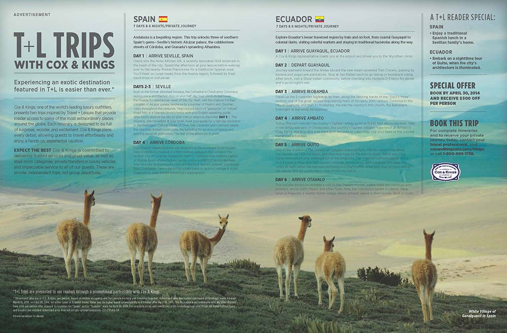 Client: Travel and Leisure magazineProject:  Locate images for a double page Cox and Kings Travel ad running in Travel and Leisure magazine