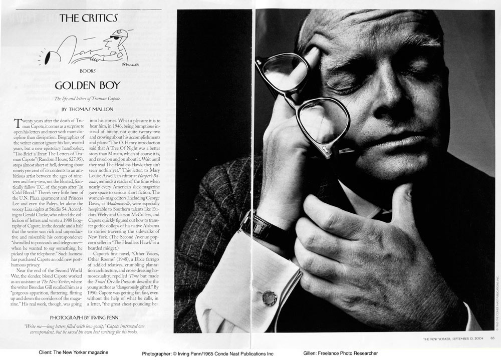 Photo Researcher who located images to illustrate personality profiles in The New Yorker magazine. Photographer is Irving Penn, client is The New Yorker magazine.
