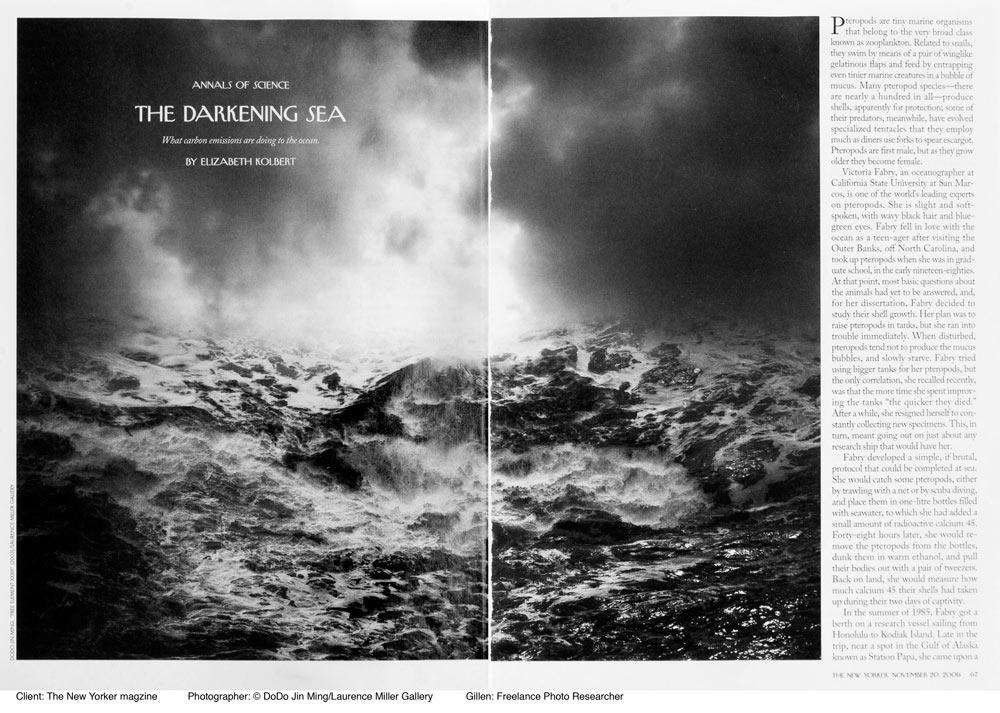 Client: The New Yorker magazineTopic: Global WarmingPaula Gillen - Photo ResearcherPhotographer: DoDo Jin Ming/Laurence Miller Gallery