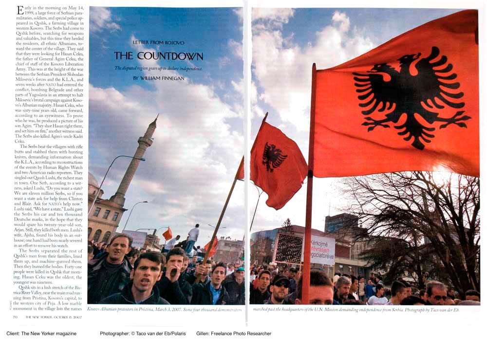 Client: The New Yorker magazineTopic: Letter from KosovoPaula Gillen - Photo ResearcherPhotographer: Taco van der Eb/Polaris