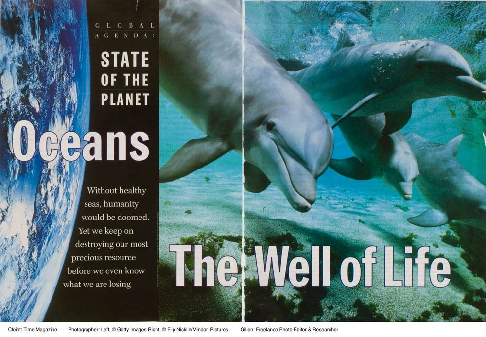 Client: Time MagazineTopic: State of the PlanetPhoto Researcher:  Paula GillenImage Detials: Left: Getty Images Right: Flip Nicklin/Minden Pictures