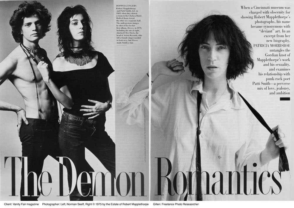 Client: Vanity FairTopic: Robert Mapplethorpe and Patti SmithPhoto Researcher: Paula Gillen