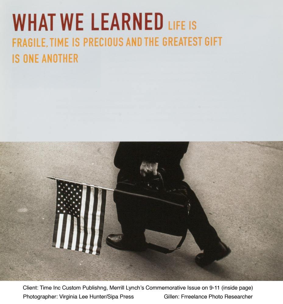 Topic: Merrill Lynch's Commemorative Issue on 9-11Paula Gillen - Photo ResearcherPhotographer: Virgina Lee Hunter/Sipa Press