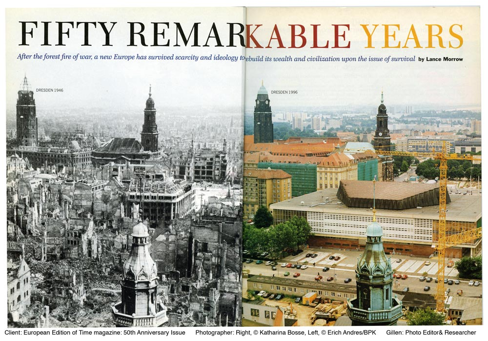 Client: Time MagazineTopic: 50 year Anniversary Issue of Time InternationalPaula Gillen - Photo EditorPhotography: Left: Erich Andres/BPK, Right: Katharina Bosse