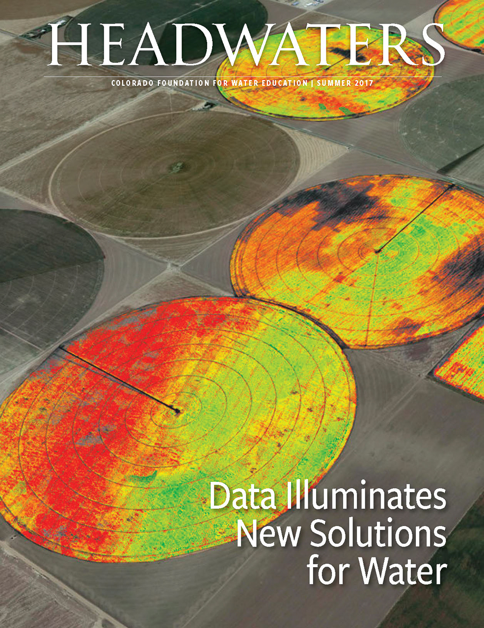 Client: Headwaters Magazine Summer 2017Project: Locate photo for cover on data gathering in CO pertaining to water issues and farming. Details: Agribotix FarmLens™ System Drones capture near-infrared sensor readings over fields in Colorado's Eastern Plains. Courtesy Agribotix/background image © Google, 2016