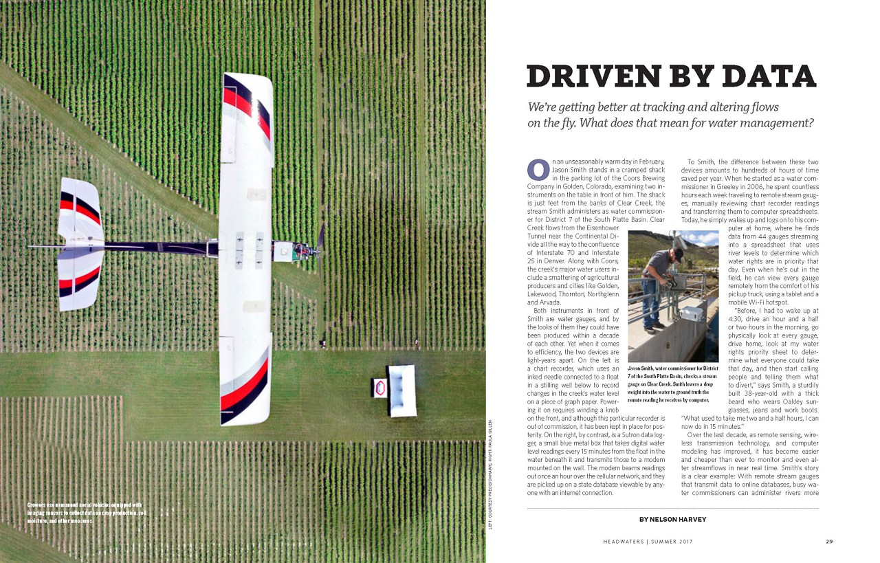 Client: Headwaters Magazine Summer 2017Project: Locate image for article on Water Management in CO and Data Gathering. Details: Photo left PRECISIONHAWK; RIGHT: Photo PAULA GILLEN