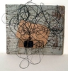 String, cardboard, leather Soba glue on weathered  wood. 2013.