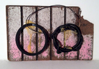 Rubber, metal wire, Carpenter{quote}s glue on weathered wood. 2013.