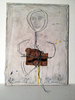 Wire, cardboard, pencil on weathered masonite. 2014.
