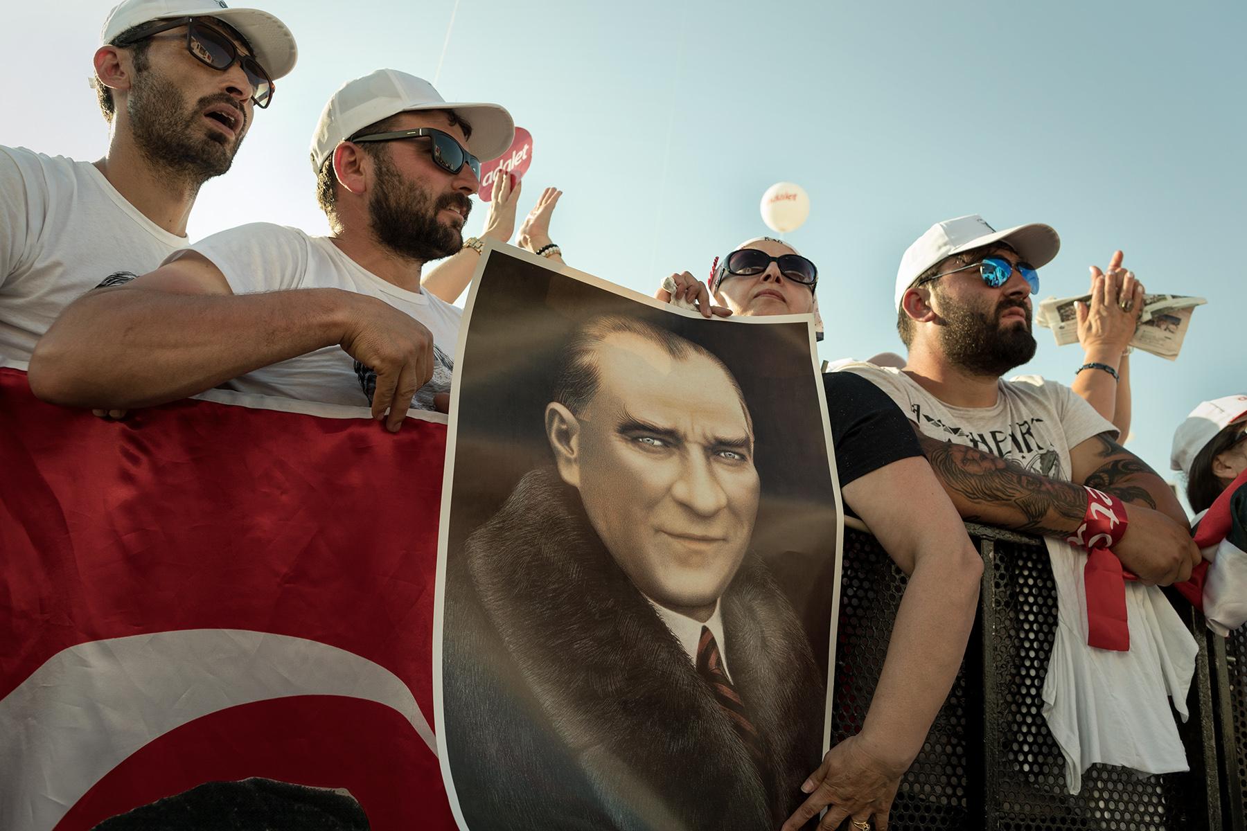 Turkey, July 9, 2017 - Kemalist supporters attend the 'Justice Rally' hold by CHP leader Kılıçdaroğlu to challenge the Turkish President Erdoğan.