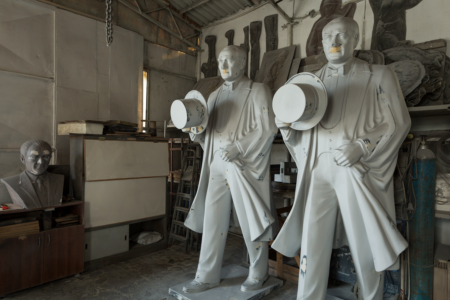 Turkey, 2017 - Production moulds for statues of Atatürk in a factory.