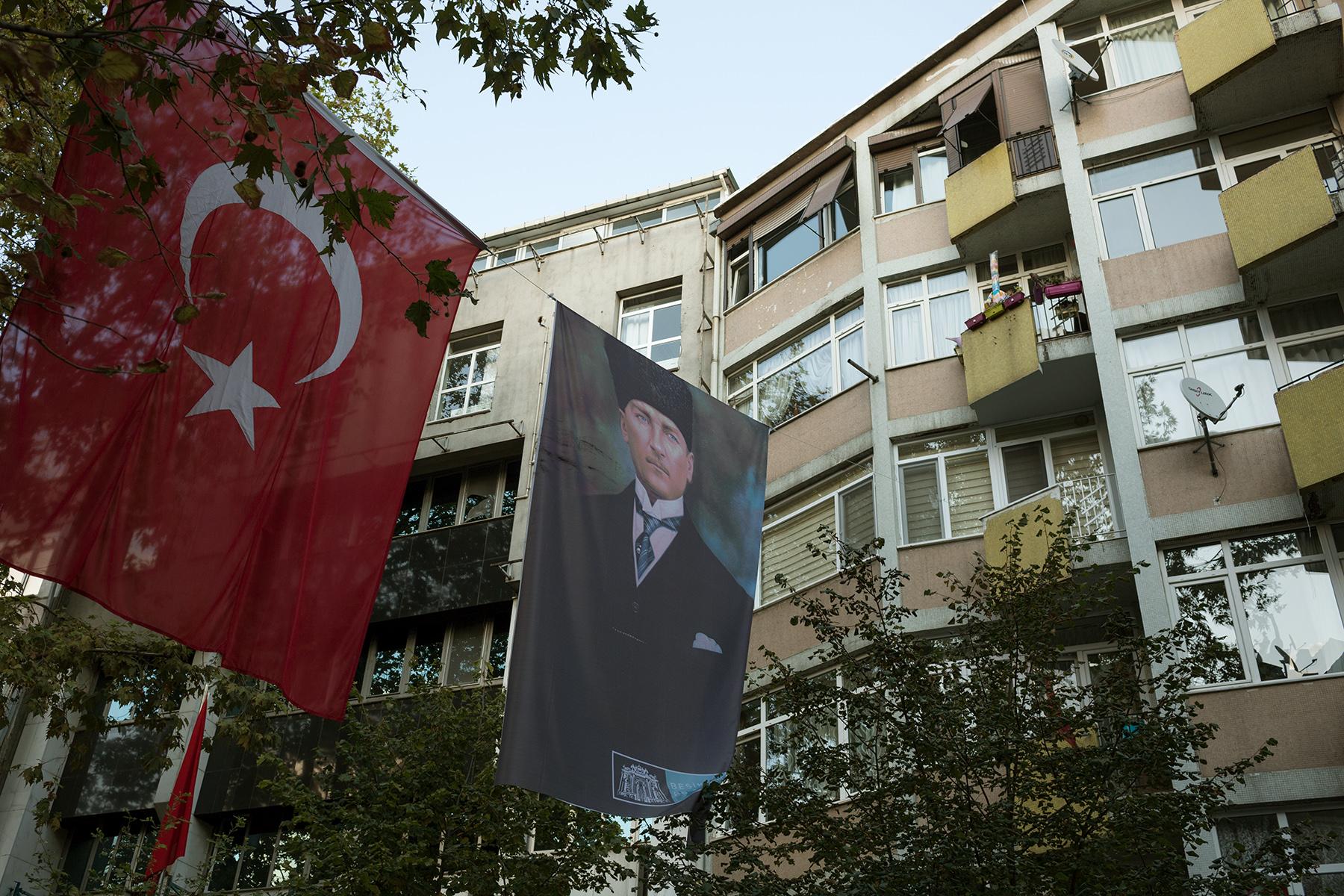 Turkey, October 2017 - Besiktas, a secular district of Istanbul before the festivities for Atatürk's death anniversary.