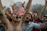 Besiktas supporters celebrate the Turkish Super League title after the last match of the season against Osmanlispor, near the Vodafone Park stadium in Istanbul, Turkey, Saturday, June 3, 2017.