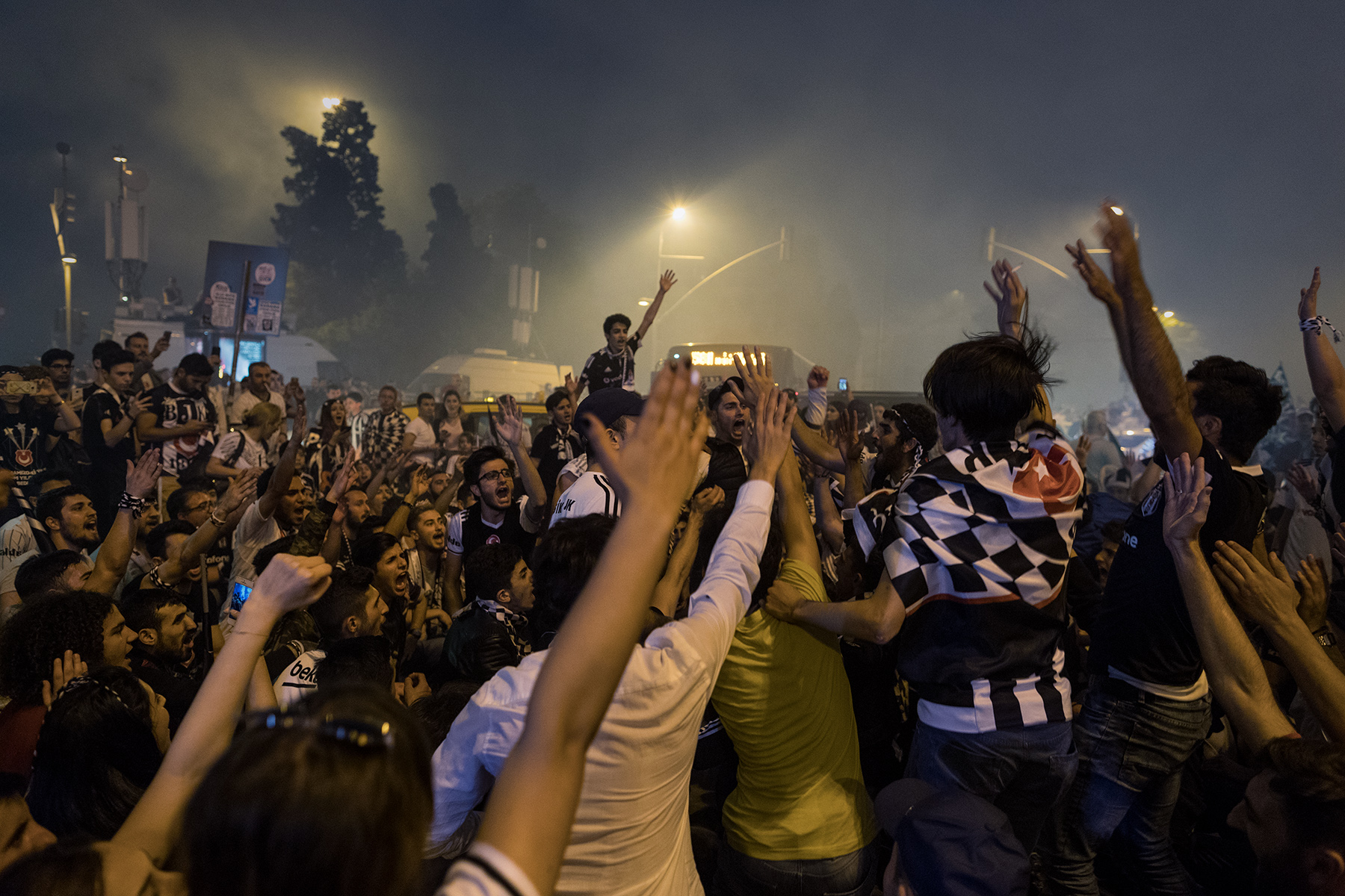 Supporters block traffic in Besiktas district as they celebrate the Turkish Super League title after the last match of the season against Osmanlispor in Istanbul, Turkey, Saturday, June 3, 2017.