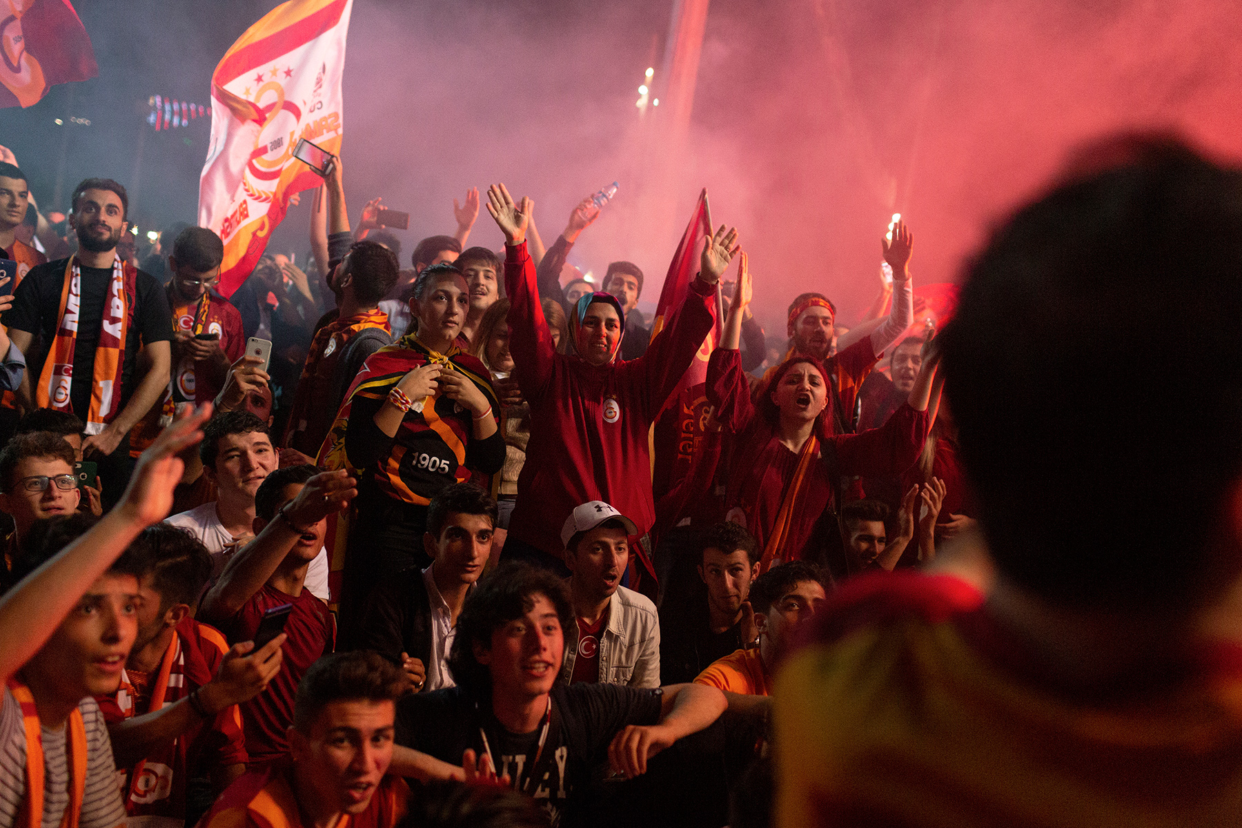 Turkey, Istanbul. May 19, 2018. Supporters of Galatasaray gather in the city center to celebrate the championship title in the Turkish Super League.