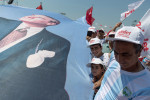 Supporters hold a giant banner with the effigy of Ataturk as Turkey's main opposition Republican People Party (CHP) leader Kemal Kilicdaroglu speaks at the 'Justice Rally' in Istanbul, Turkey, Sunday, July 9, 2017. The event concludes Kilicdaroglu's 25 days March from Ankara to Istanbul for accusing Erdogan of interference in court case of Enis Berberoglu, a CHP deputy who was sentenced to 25 years in jail for espionnage.