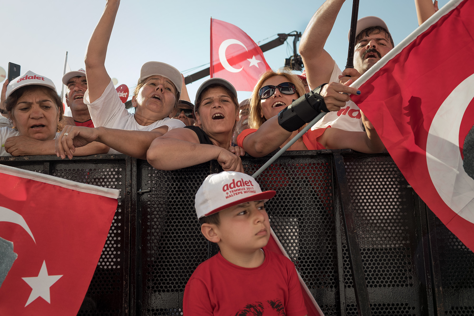 Supporters attend Turkey's main opposition Republican People Party (CHP) leader Kemal Kilicdaroglu 'Justice Rally' in Istanbul, Turkey, Sunday, July 9, 2017. The event concludes Kilicdaroglu's 25 days March from Ankara to Istanbul for accusing Erdogan of interference in court case of Enis Berberoglu, a CHP deputy who was sentenced to 25 years in jail for espionnage.