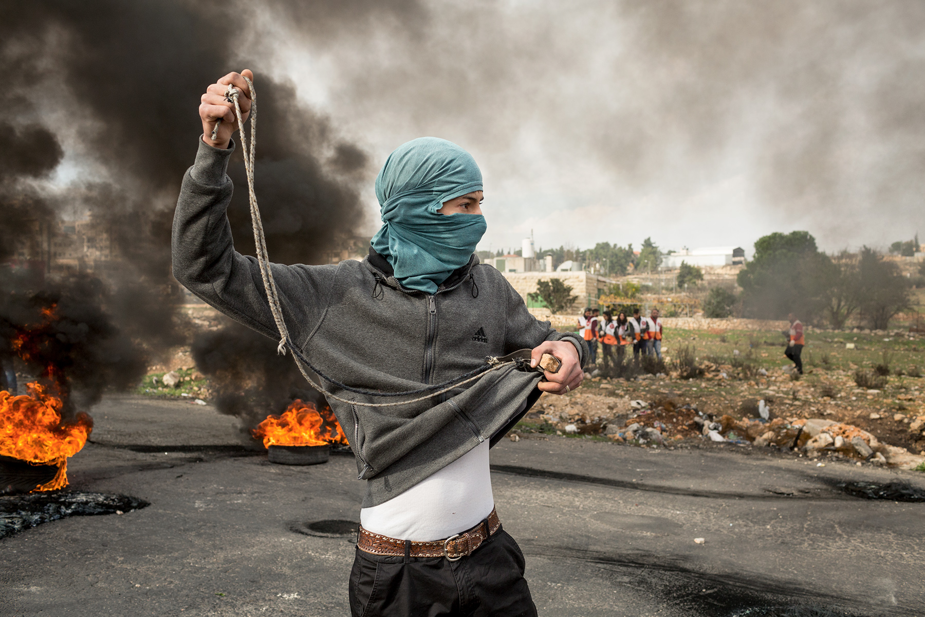 West Bank, December 2017 - Young Palestinians clash with Israeli soldiers following US president Donald Trump statement on Jerusalem status.