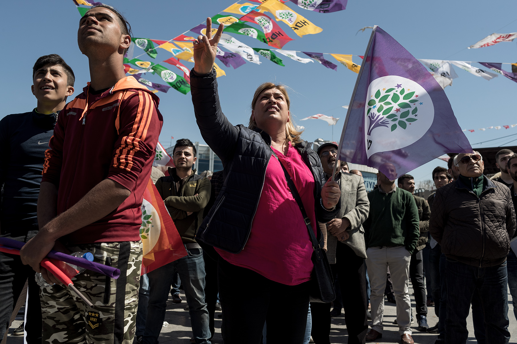 HDP supporters call for the release of Selahattin Demirtas during a rally against the referendum in Istanbul, Turkey on April 13, 2017. The pro-Kurdish leader risks up to 142 years imprisonment, accused of belonging to PKK, considered as a terrorism organisation.