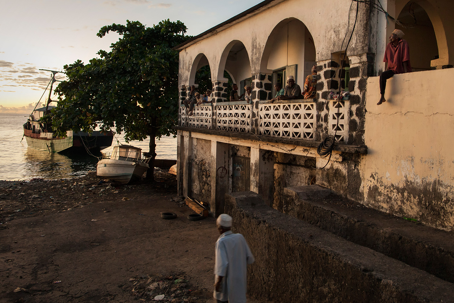 Muslim at a mosque in Mutsamudu, Anjouan Island, Comoros, scan the horizon on Wednesday, June 17, 2015 and wait for the first light of the moon to celebrate the beginning of the Ramadan. 98% of the population is muslim.