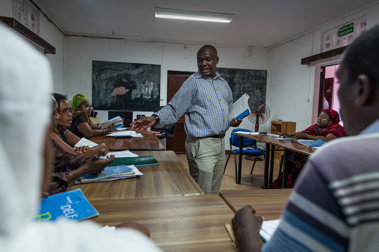 Migrants take french lessons at the Association Solidarite Mayotte in Mamoudzou, Mayotte, France on Tuesday, June 16, 2015. The association is the only center in Mayotte to propose a complete assistance to migrants. They have to complete the Delf B1 certificate to obtain a visa.