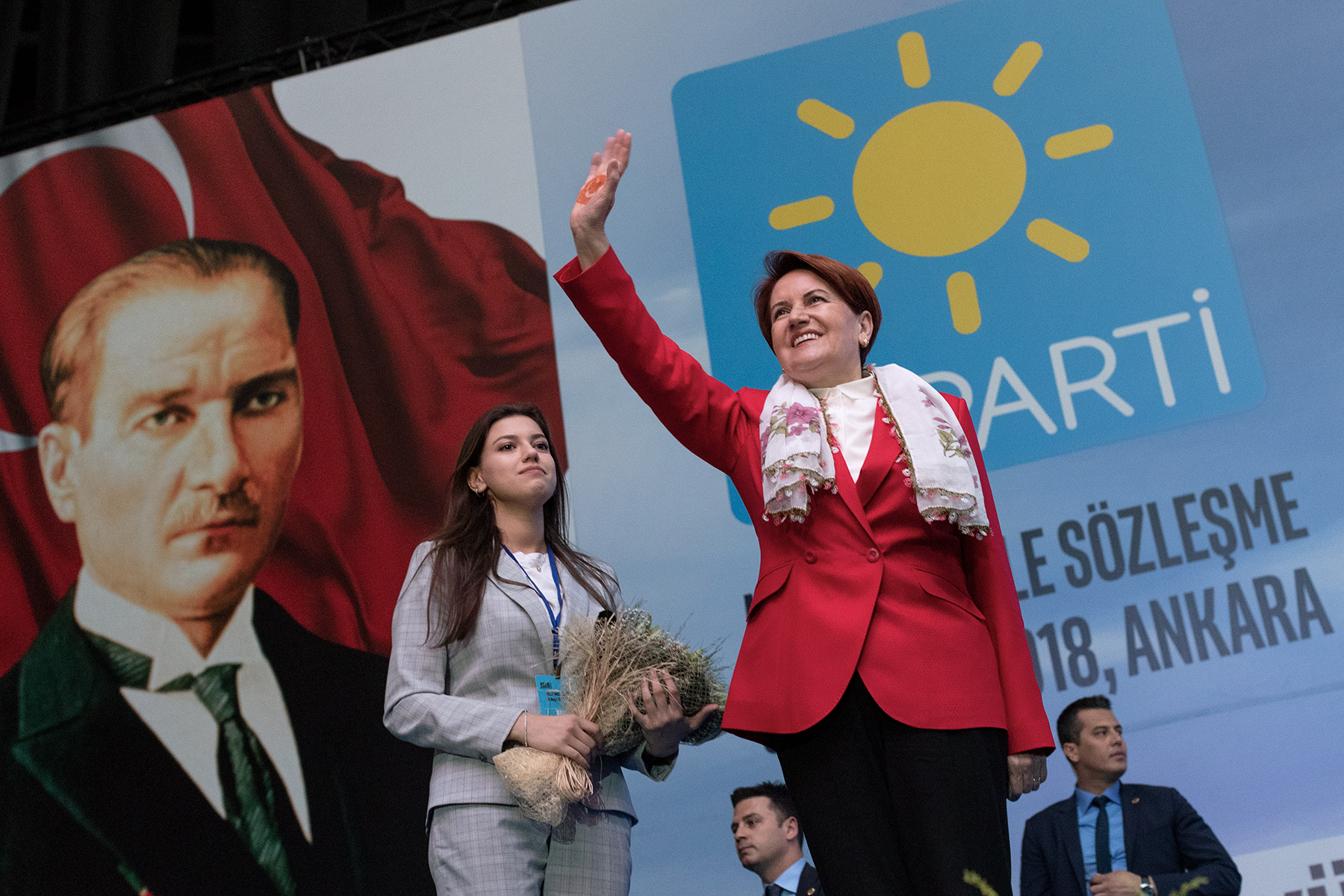 The candidate of IYI Parti Meral Akşener, former minister of the Interior, salutes her supporters in Ankara as she arrives on the stage for a rally on May 30, 2018