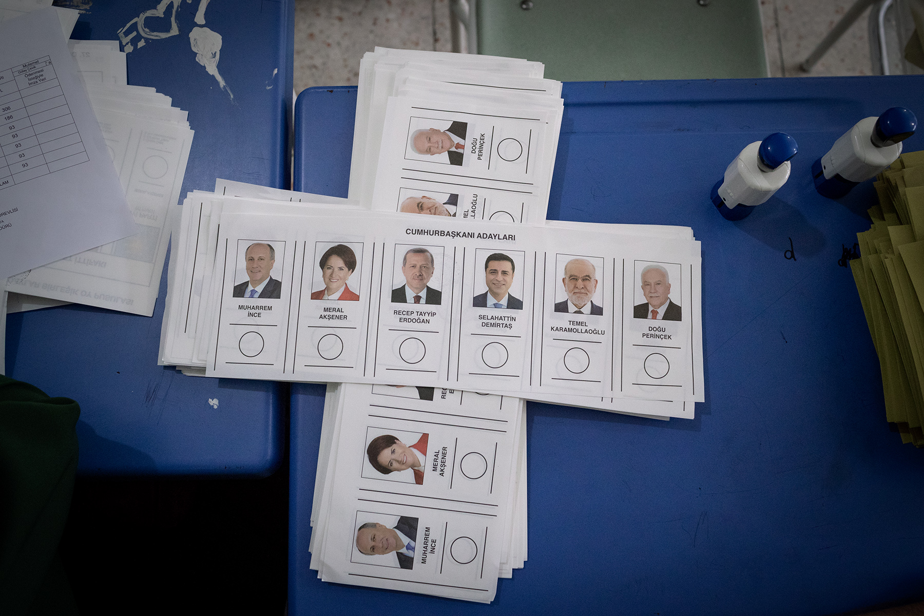 Ballot papers with the pictures of the six candidates for the presidential election lay in a school of Yalova during the elections day on June 24, 2018