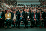 Elected representatives of IYI Parti (the Good Party) attend the speech of Meral Akşener, first female presidential candidate in Turkey, during her first electoral rally in Ankara on May 30, 2018