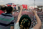 Thousands of supporters attend the speech of Muhharrem İnce (CHP) on his campaign bus during a small rally for the elections in Istanbul western suburbs on June 10, 2018