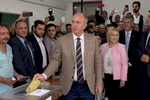 Muhharrem İnce, presidential runner of the main opposition party CHP votes with his wife Ülkü in their hometown Yalova on June 24, 2018. He is then still well placed to access the second round of voting.