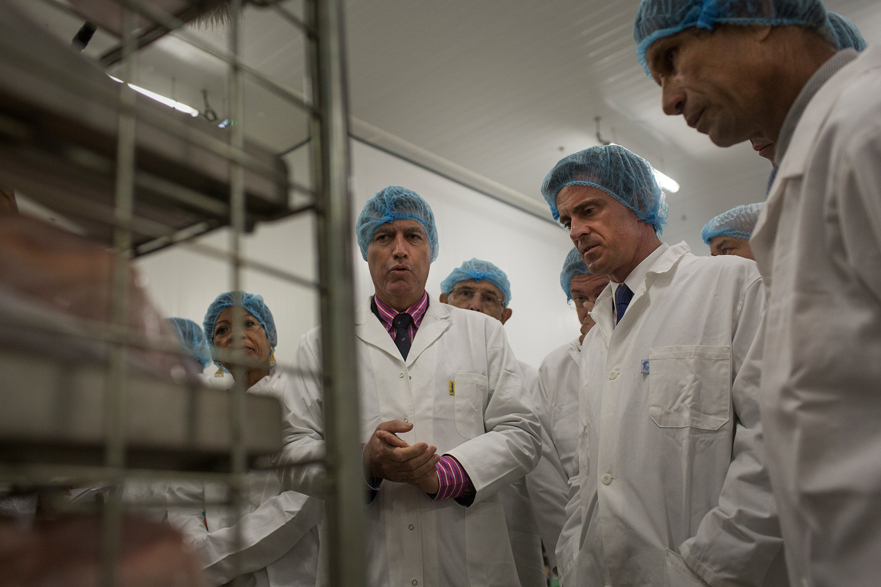 French First Minister Manuel Valls inaugurates the poultry slaughterhouse Crete d'Or in l'Etang Sale, Reunion Island, France. Thursday, June 11, 2015