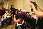 The hair and makeup room, before the gala dinner and the crowning of Ms. Wheelchair America 2015.